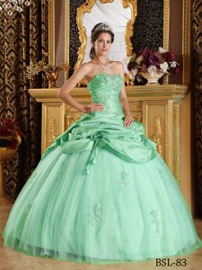 Tulle and Taffeta Beaded Lace-up Wonderful Quince Dress in Apple Green