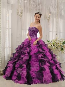 Multi-colored Sweetheart Beaded Organza Quinceanera Dress with Ruffles for Cheap