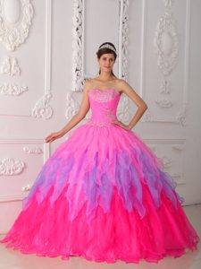 Cute Multi-colored Sweetheart Floor-length Beaded Quinceanera Dress with Ruffles