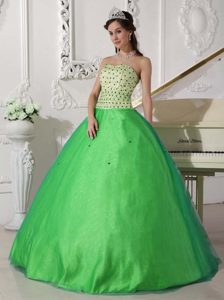 Spring Green Strapless Ball Gown Tulle Quinceanera Dresses with Beading for Cheap
