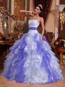 Cute Lilac and White Sweetheart Organza Quinceanera Dress with Beading and Ruffles