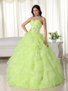 Yellow Green Sweetheart Floor-length Organza Appliqued Ruffled Dresses for Quince