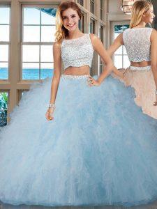 Lovely Light Blue Side Zipper Quince Ball Gowns Beading and Ruffles Sleeveless Floor Length