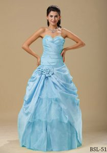 Ruched Sweetheart Blue Taffeta Quinceanera Dress with Beading and Flower on Sale