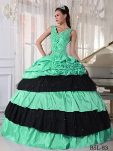 V-neck Turquoise and Black Appliqued Quinceanera Dress with Pick-ups and Flower