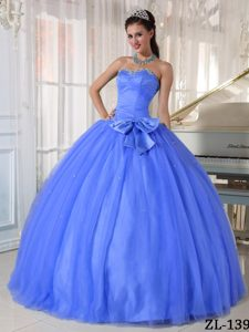 Desirable Blue Sweetheart Tulle Ball Gown Quinceanera Dress with Beading and Bow