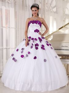 Nice Beaded Strapless White Tulle Sweet 16 Dress with Purple Flowers on Promotion