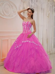 Appliqued and Ruffled Hot Pink Sweet Sixteen Dress with Heart Shaped Neckline