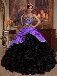 New Stylish Purple and Black Ruffled Sweet 15 Dresses with Pick-ups and Zebra