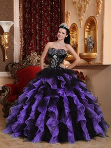 Pretty Sweetheart Quince Dresses with Ruffles and Beadings in Purple and Black