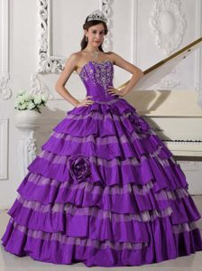 Purple Appliqued and Layered Sweet 16 Quince Dresses with Handmade Flowers