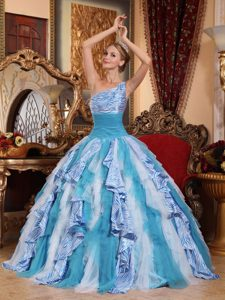 Multi-colored One Shoulder Sweet 16 Quinceanera Dresses with Ruffles and Zebra