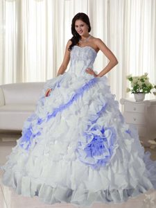White and Lilac Ruffled Dresses for Quince with Appliques and Rolling Flowers