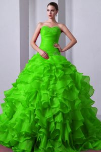 Ruched and Ruffled Quinceanera Dress with Beads and Appliques in Spring Green