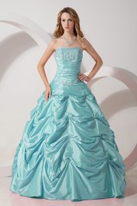 Baby Blue A-line Ruched Sweet 16 Dress with Appliques and Pick-ups in Taffeta