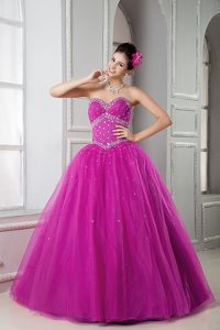 Fuchsia Floor-length Beading Quinceanera Gowns with Heart Shaped Neckline
