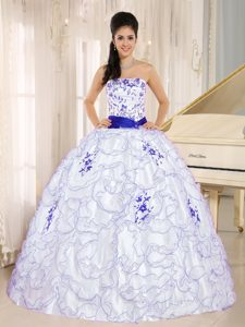 2013 White and Blue Ruffled Sweet Sixteen Quinceanera Dress with Embroidery