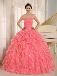 Lovely 2013 Rose Pink Ruffles and Beaded Quinceanera Dresses in Organza