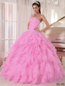 Beaded Strapless Baby Pink Dresses for Quince with Ruffles in Organza