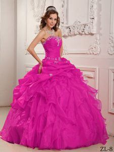 Hot Pink Strapless Organza Quinceanera Dress with Beading and Ruffles