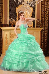 Apple Green Sweetheart Quinceanera Gowns with Pick Ups Made in Organza