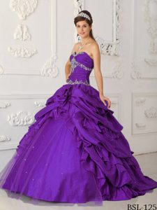 Purple Sweetheart Taffeta and Tulle Appliqued Beaded Quinceanera Dresses
