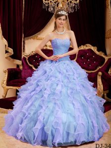 2013 Sweetheart Organza Quinceanera Dress with Beading and Ruffled Layers