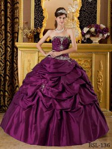 Hot Purple Strapless Taffeta Quinceanera Dress with Appliques and Pick-ups