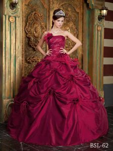 New Wine Red Strapless Taffeta Quinceanera Dress with Hand Made Flowers