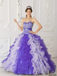Multicolor Sweetheart Organza Beaded Quinceanera Dress for Custom Made