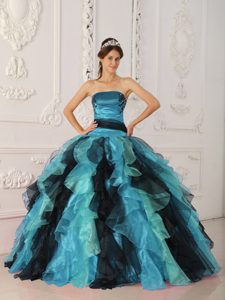 Multicolor Strapless Organza Quinceanera Dress with Appliques and Ruffles
