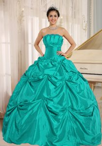 Turquoise Taffeta Quinceanera Dress with Pick-ups for Custom Made on Sale