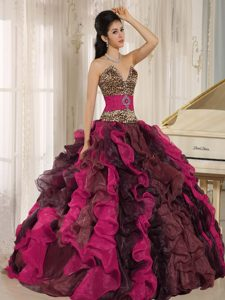 Wholesale Multicolor V-neck Ruffled Leopard and Beaded Quinceanera Dress