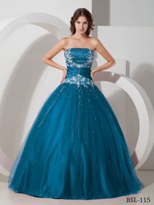 Bottom Price Beading and Ruching Sweet Sixteen Dresses with Appliques in Teal