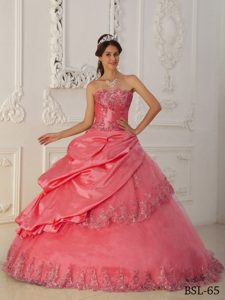 Watermelon Red Strapless Quinceanera Dresses with Embroidery for Less