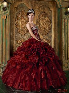 Ruffled and Appliqued Wine Red Strapless Dress for Quinceanera on Sale