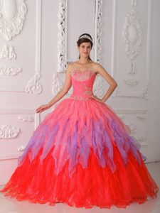Multi-color Sweetheart Quinceanera Gown Dress with Ruffles and Beading