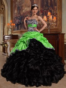 New Style Green and Black Strapless Dresses for Quinceanera with Ruffles