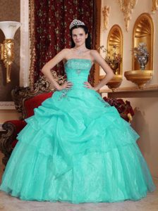 Strapless Dresses for Quinceanera in Aqua Blue with Beading and Pick-ups