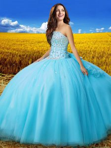 Chic Beading and Bowknot Sweet 16 Dress Aqua Blue Lace Up Sleeveless Floor Length