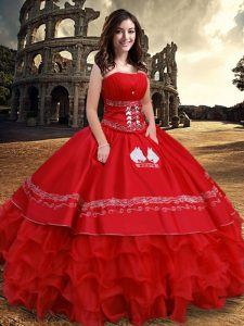 Ruffled Ball Gowns Quince Ball Gowns Red Strapless Organza and Taffeta Sleeveless Floor Length Lace Up