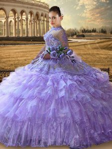 Ruffled High-neck Long Sleeves Lace Up Sweet 16 Dresses Lavender Tulle