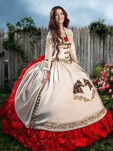 Free and Easy Organza and Taffeta Sweetheart Sleeveless Brush Train Lace Up Beading and Embroidery and Ruffles Sweet 16 Quinceanera Dress in White And Red