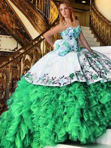 Sweetheart Lace Up Appliques and Embroidery and Ruffles Quinceanera Gowns Sleeveless