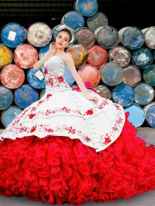 White And Red Lace Up Sweetheart Appliques and Embroidery and Ruffles Quinceanera Gowns Organza Sleeveless