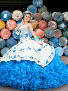 Modern Halter Top Blue And White Lace Up Quince Ball Gowns Appliques and Embroidery and Ruffles Sleeveless Floor Length