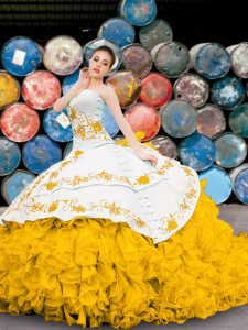 Sweetheart Sleeveless Lace Up 15th Birthday Dress Yellow And White Organza