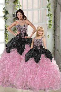 Best Pink And Black Sleeveless Floor Length Beading and Ruffles Lace Up Quinceanera Dress