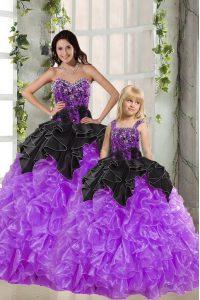 Fabulous Floor Length Black And Purple 15th Birthday Dress Organza Sleeveless Beading and Ruffles