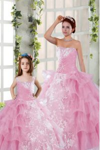 Hot Sale Organza Strapless Sleeveless Lace Up Beading and Ruffled Layers and Ruching Quinceanera Gown in Rose Pink